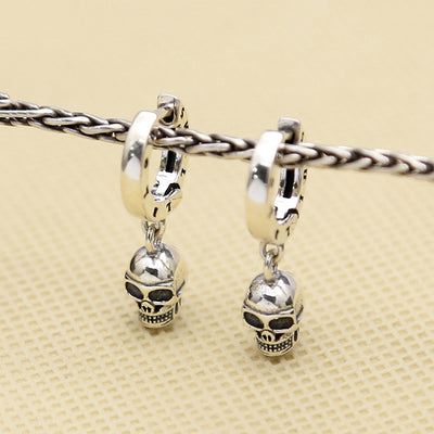 Blood and Skull Drop Earring 925 Silver