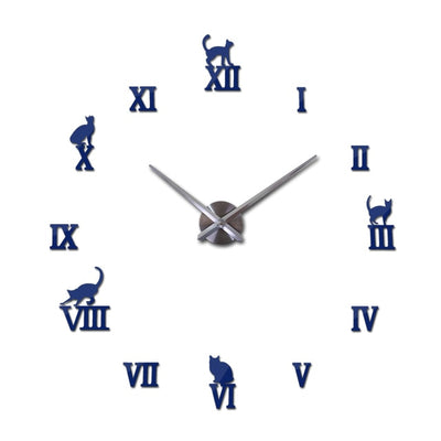 3D Cat Wall Stickers Clock