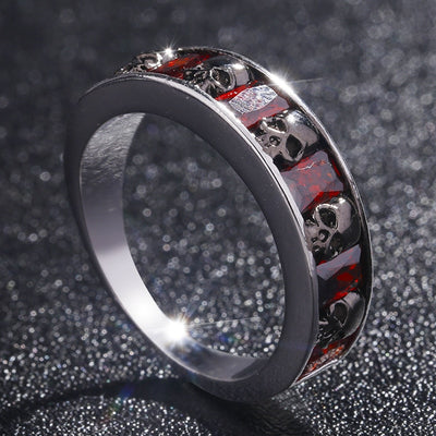 Crystal Gothic Skull Ring