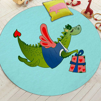 Lovely Dinosaur Printed Round Carpet