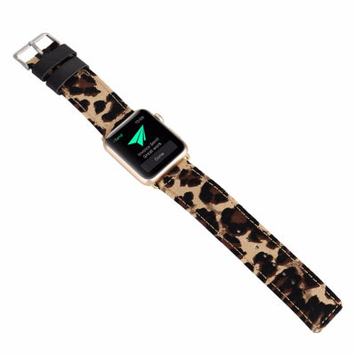 Leopard Leather Watch Band