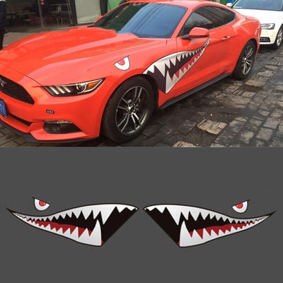 1 Pair 150cm Funny Shark Mouth Car Stickers