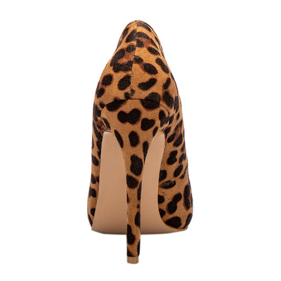 LALA IKAI High Heels Leopard Shoes Women Pumps Office Lady Pointed Toe Flock Sexy 12 cm Wedding Sapato Feminino 014C1722 -49