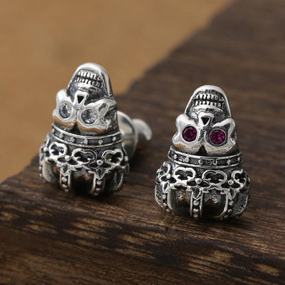 Crown Skull Silver Earring Christmas Gift