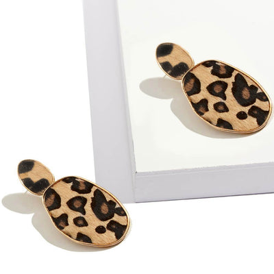 Leopard Round Square Drop Earrings