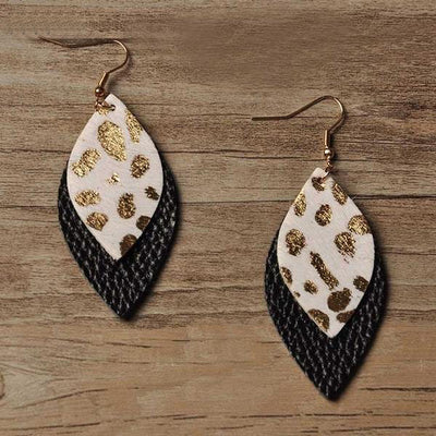 Genuine Leather Leopard Print Earrings