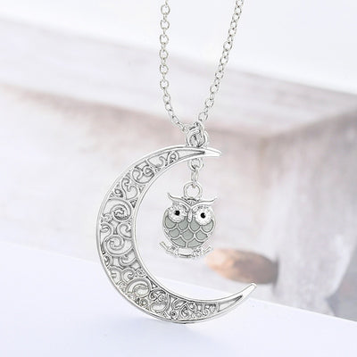 Luminous Hollow Moon And Owl Necklace