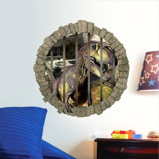 3D dinosaur in jail Wall Stickers