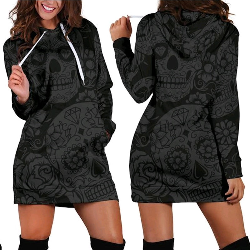 3D Hoodies Women Melted Skull Full Print