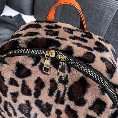 Leopard Printed Vintage School Backpack