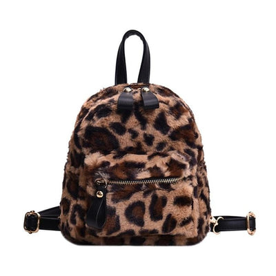 Leopard Print Fur Backpack