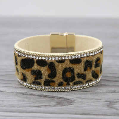 Boho Leopard Rhinestone Leather Wrap Bracelet