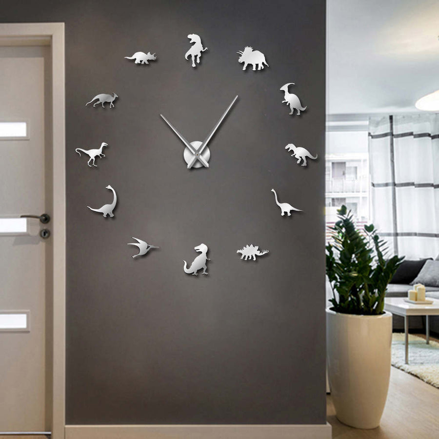 Mirror Dinosaurs Giant Wall Clock