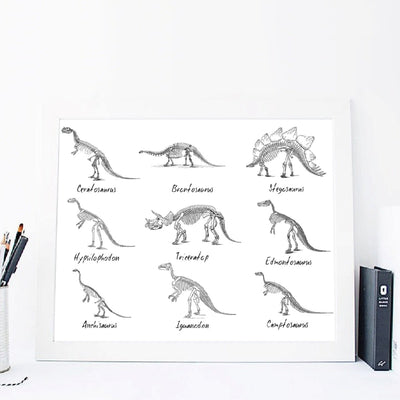 Dinosaur Species Paleontology Canvas Painting
