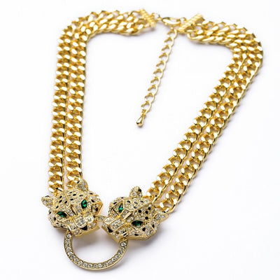Leopard Head Double Layer Necklace