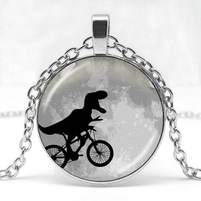 Dinosaur Cycling Full Moon Glass Necklace