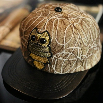 Owl Leather Brim Baseball Cap