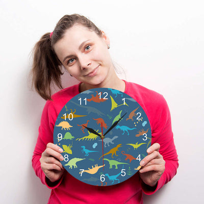 Colorful Dinosaur With Numbers Wall Clock