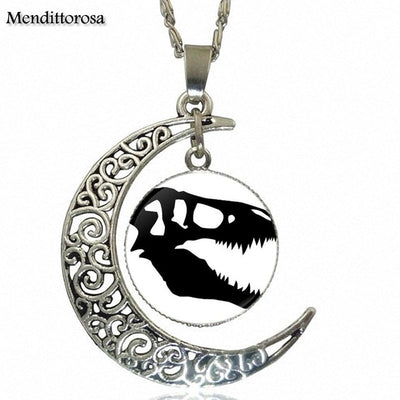 Dinosaur Moon Glass Necklace