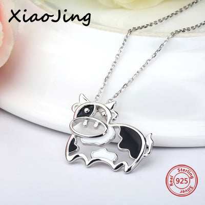 925 Sterling Silver Cute Cow Necklace