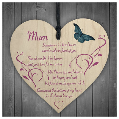Mum I Will Always Love You Wooden Hanging Heart Mother Day Gift