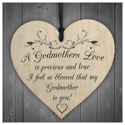 Godmothers Love Wooden Hanging Heart Mothers Day Gift