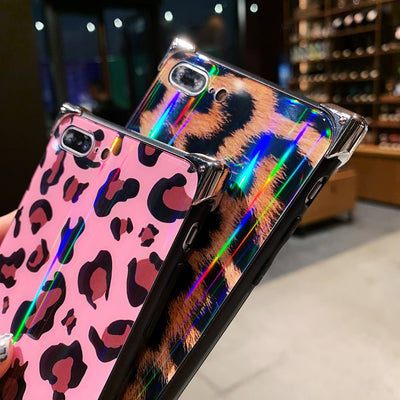 Leopard Laser Light Tempered Glass Case For iPhone