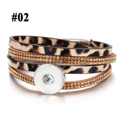 Boho Snap Button Leopard Print Leather Bracelet