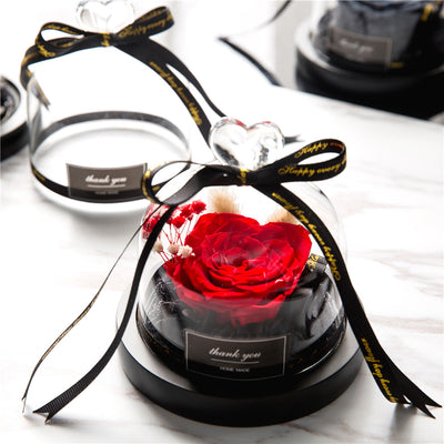Exclusive Rose In Glass Dome With Lights Valentine Christmas Gift