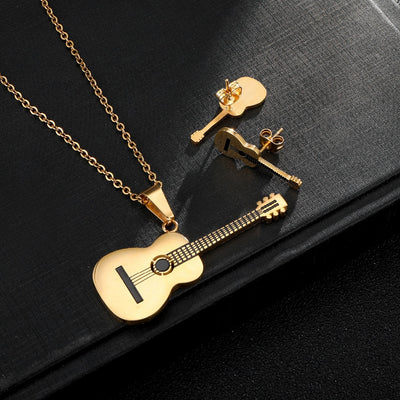 Stainless Steel Guitar Necklace Stud Earrings Set