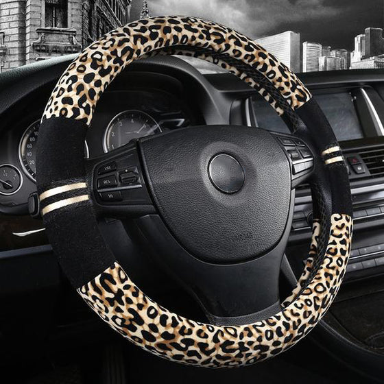 Luxury Leopard Print Plush Car Steering Wheel Cover