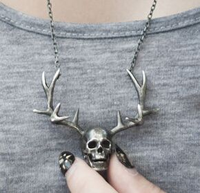 Regalrock Deer Antler Skeleton Skull Biker Pendant Necklace