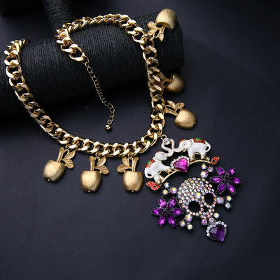 Purple Chunky Skull Pendant Necklace