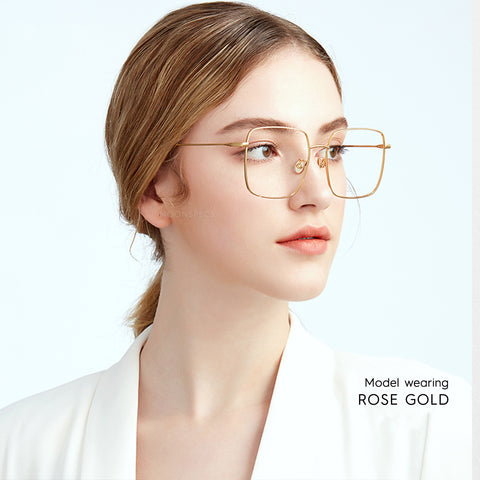 Rose Gold Wire Computer Glasses
