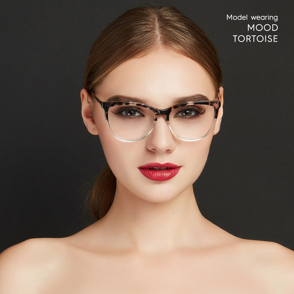 Mood cat eye computer glasses that block blue light