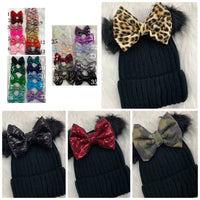 Black beanie pick your bow