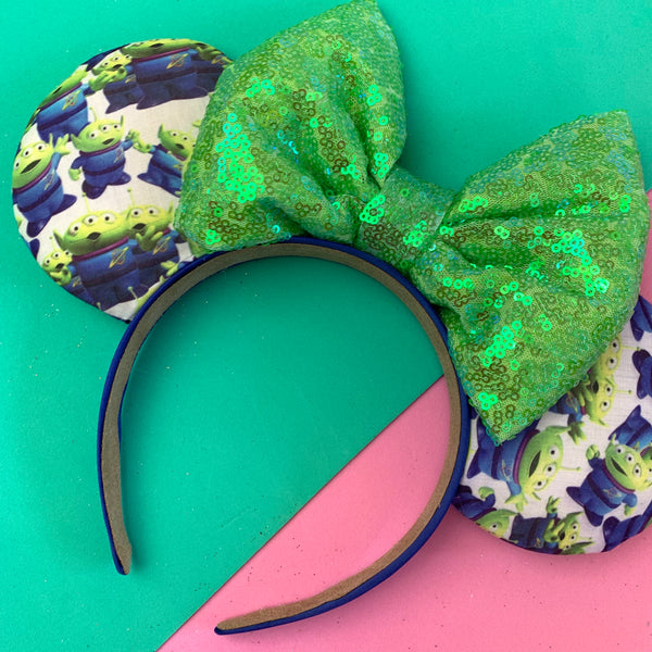 Little green men fabric mouse ears