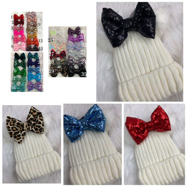 White beanie pick your bow