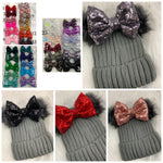 Gray beanie sequins bow
