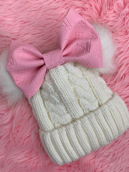Pink LV bow on beanie