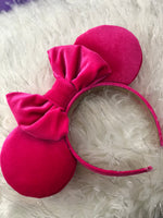 Hot Pink Velvet Solid Ears