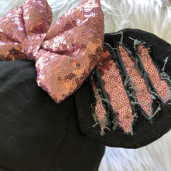 Black Ripped Hat (Rosegold)