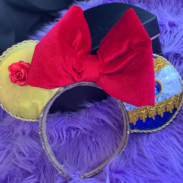 Beauty and the beast velvet bow ears