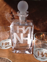 Square Hand-Blown Glass Decanter