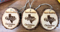 Cedar Wood Personlized Christmas Ornament