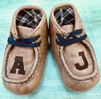 Brown Personalized Leather baby shoes