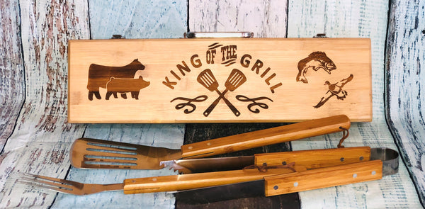 Wooden BBQ Tool Set that can be personalized for free