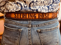 Floral Tooled Leather Belt