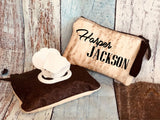 Baby Wipes Dispenser made from cowhide and leather. Can be personalized for free.