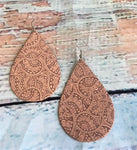 Paisley Floral Tooled Teardrop Earrings